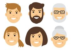 People icon. Male and female faces. Vector stock illustration