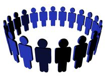 People icon - (Multi-angle. 3D icon of people in a circle Royalty Free Stock Images