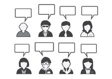 People icon and  peoples talking Speech Bubble Royalty Free Stock Images