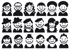 People icon set stock illustration