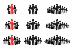 People icon set. Crowd of people in black and red colors. Group of people in pictogram shape vector illustration