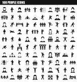 100 people icon set, simple style. 100 people icon set. Simple set of 100 people vector icons for web design isolated on white background stock illustration