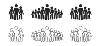 People icon set. Stick figures, people crowd icon for infographic isolated on background