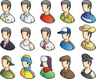 People icon set. Vector illustration of isolated man icons in various season clothes. Easy-edit layered  EPS10 file scalable to any size without quality loss Stock Images