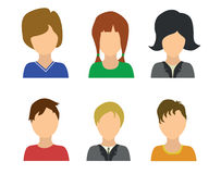 6 people icones. Set of six people avatar icons, vector illustration Royalty Free Stock Image