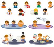 People icons. Set of icons with people working in office Stock Photo