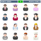 People Icons [2] - Robico Series. Collection of 16 colorful people icons, isolated on white background. Robico Series: check my portfolio for the complete set stock illustration