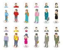 People with icons Stock Photo