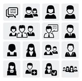 People icons. Vector black people icons set on gray Royalty Free Stock Photo