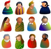 People icons. Diverse group of maen and women - icon people series Stock Images