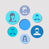 People icons. Abstract background colorful circles with people icons royalty free illustration