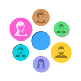 People icons. Abstract background colorful circles with people icons stock illustration