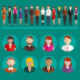 People icons and avatars in flat modern style. Vector illustration Stock Photography