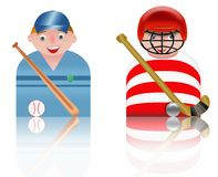 People icons baseball and hockey Stock Photo