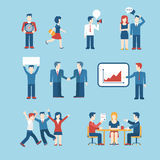 People icons business man situation web template  icon set. Flat style business people figures icons. Web template  icon set. Lifestyle situations icons Stock Image