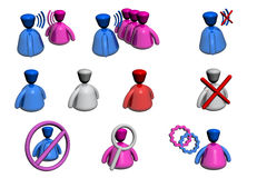 People Icons - Chat / Forum - Perspective View stock illustration