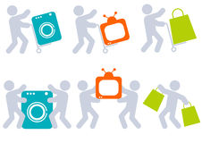 People icons with color items Royalty Free Stock Photos