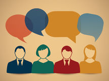 People icons with colorful dialog speech bubbles Stock Photography