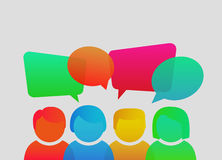 People icons with colorful dialog speech bubbles. Vector illustration. Stock Images