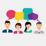 People icons with colorful dialog speech. Social Network and Soc Royalty Free Stock Photography
