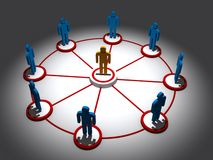 People icons connected Stock Photo