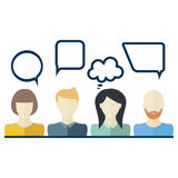 People icons with dialog speech bubbles. Flat design Royalty Free Stock Images