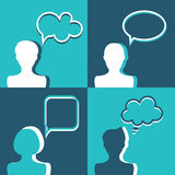 People icons with dialog speech bubbles. Flat design Stock Photography