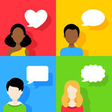 People icons with dialog speech bubbles Set Royalty Free Stock Photo