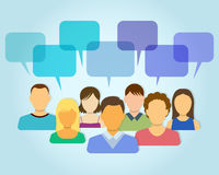 People Icons with Dialogue Bubbles Stock Images