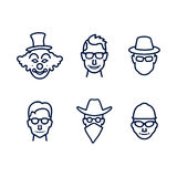 People icons with faces Stock Photography