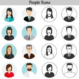 People Icons flat design - Vector EPS10. Set of vector icons - people, male, female, color, silhouette Stock Images
