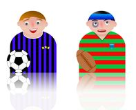 People icons football and rugby Stock Photography