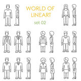 People icons graphical lineart vector set. Line art collection Royalty Free Stock Photography