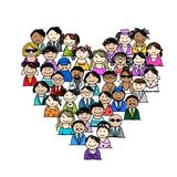 People icons, heart shape for your design Stock Photography