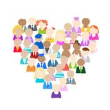 People icons, heart shape for your design Stock Photos