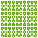 100 people icons hexagon green. 100 people icons set in green hexagon isolated vector illustration Stock Photo