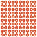 100 people icons hexagon orange. 100 people icons set in orange hexagon isolated vector illustration Royalty Free Stock Image