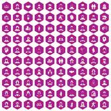 100 people icons hexagon violet. 100 people icons set in violet hexagon isolated vector illustration royalty free illustration