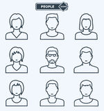 People icons, linear flat style Stock Photo