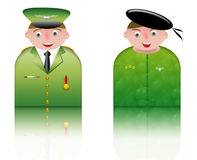 People icons military. People icons of two soldiers in uniform. white background and reflection Royalty Free Stock Photos