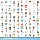 100 people icons set, cartoon style. 100 people icons set in cartoon style for any design illustration stock illustration