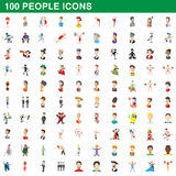 100 people icons set, cartoon style Royalty Free Stock Photos