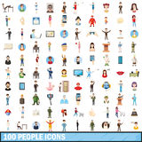 100 people icons set, cartoon style Royalty Free Stock Images