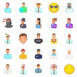 People icons set, cartoon style. People icons set. Cartoon set of 25 people vector icons for web isolated on white background Royalty Free Stock Photo