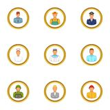 People icons set, cartoon style. People icons set. Cartoon set of 9 people vector icons for web isolated on white background Royalty Free Stock Image