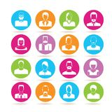 People icons. Set 16 people icons in colorful buttons on white background stock illustration
