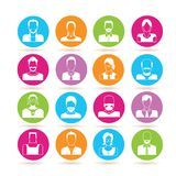 People icons. Set 16 people icons in colorful buttons on white background royalty free illustration