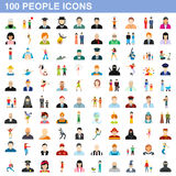 100 people icons set, flat style Royalty Free Stock Photos