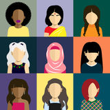 People icons set in flat style with faces of women. People icons set in flat style with faces. Vector avatars with women character Royalty Free Stock Photos