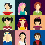 People icons set in flat style with faces of women Stock Photo